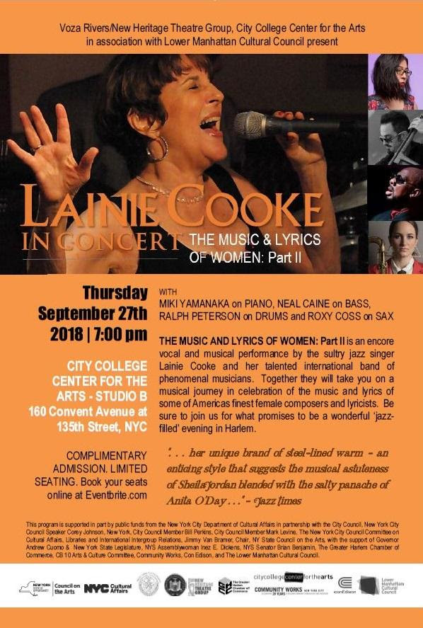 LAINIE COOKE IN CONCERT by VOZA RIVERS/NEW HERITAGE THEATRE